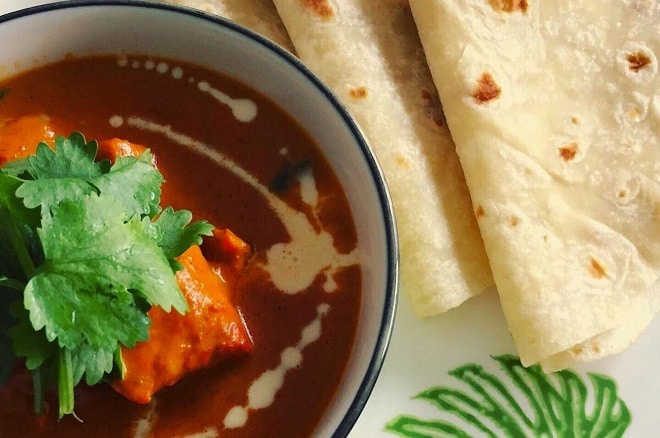butter chicken and roti food recipes