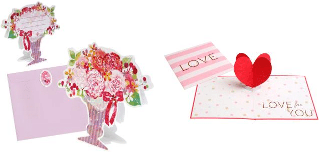 paper craft cards with red, pink, white and green